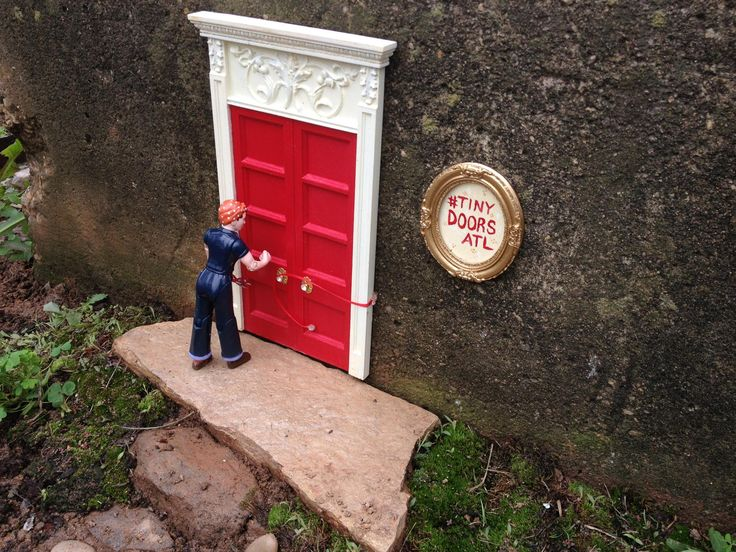 Tiny Doors ATLu0027s mascot Rosie cuts the ribbon on the newly-installed door & 34 best Tiny Doors images on Pinterest | Miniatures Atlanta and ...