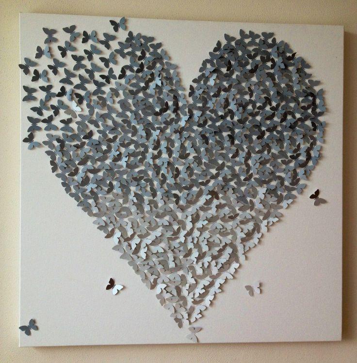 Uniek persoonlijk cadeau huwelijk trouwen trouwdag verjaardag liefde. 80 x 80 cm, verkrijgbaar in verschillende tinten. Alles op aanvraag, binnen 2 weken leverbaar. Te personalizeren door bv 4 gouden vlinders toe te voegen die gezinsleden repesenteren.
