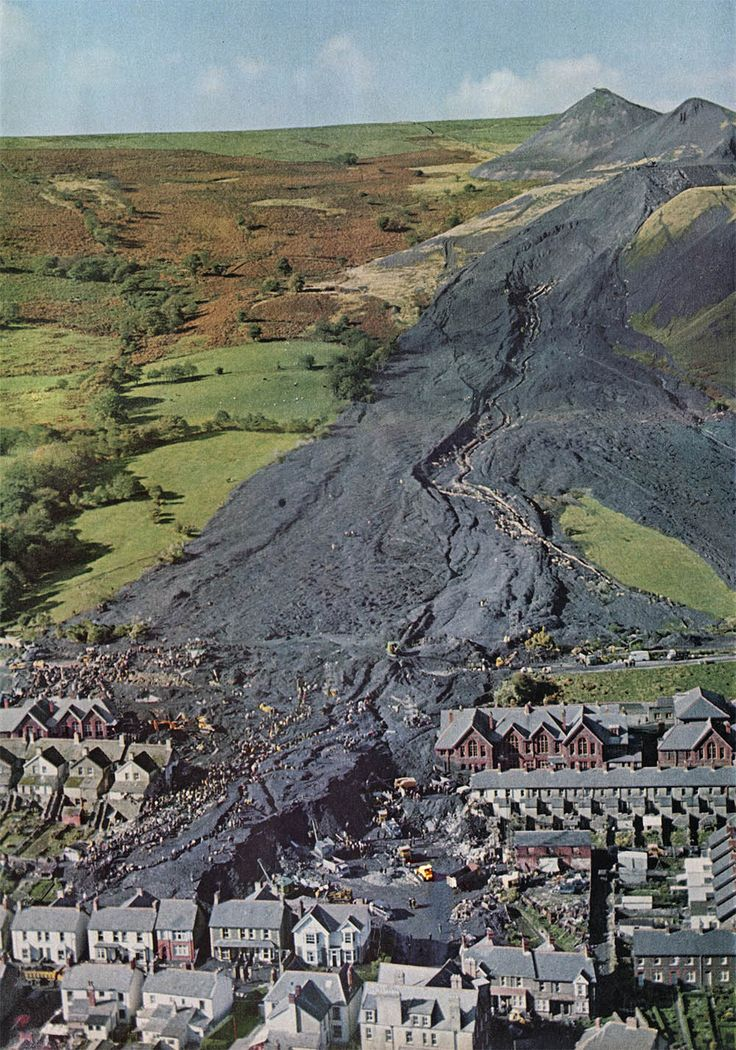 Mining town of Aberfan, Wales. In 1966, an incredible landslide composed of excavated rock, slag and other mining debris killed 144 people, including 116 children.
