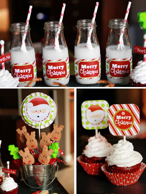 Starbucks Frappuccino bottles cleaned and wrapped with drink bottle label topped off with beverage & a red polka dot straw for a kids Christmas party. Lots of ideas here.: Holidays Parties, Christmas Parties, Jolly Christmas, Kids Christmas, Holly Jolly, Milk Bottle, Parties Ideas, Christmas Ideas, Christmas Printable