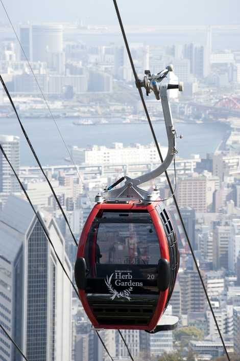 Shin-Kobe Ropeway  that travels over the city, a bunch of trees and a waterfall. Downtown Kobe in the background