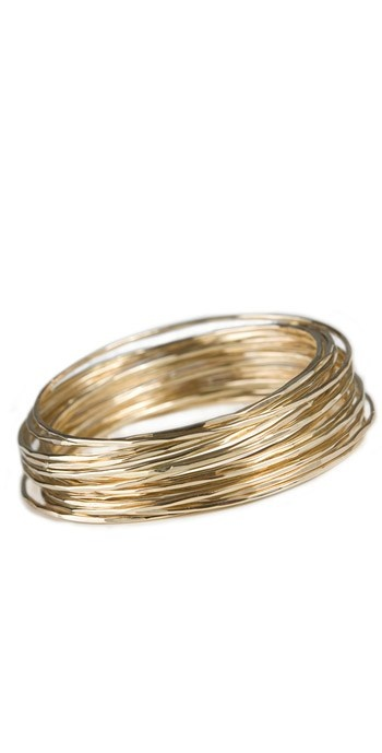 Edina Kiss gold filled bangles. Set of five. Classic, simple, Love.