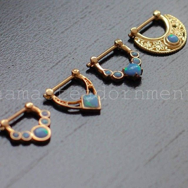 Excited to see some nice jewelry coming out of Mexico!  Some examples of our 14k gold septum pieces with blue opals