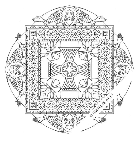 Angel Square Mandala Coloring Page Using Ancient Christian Symbols