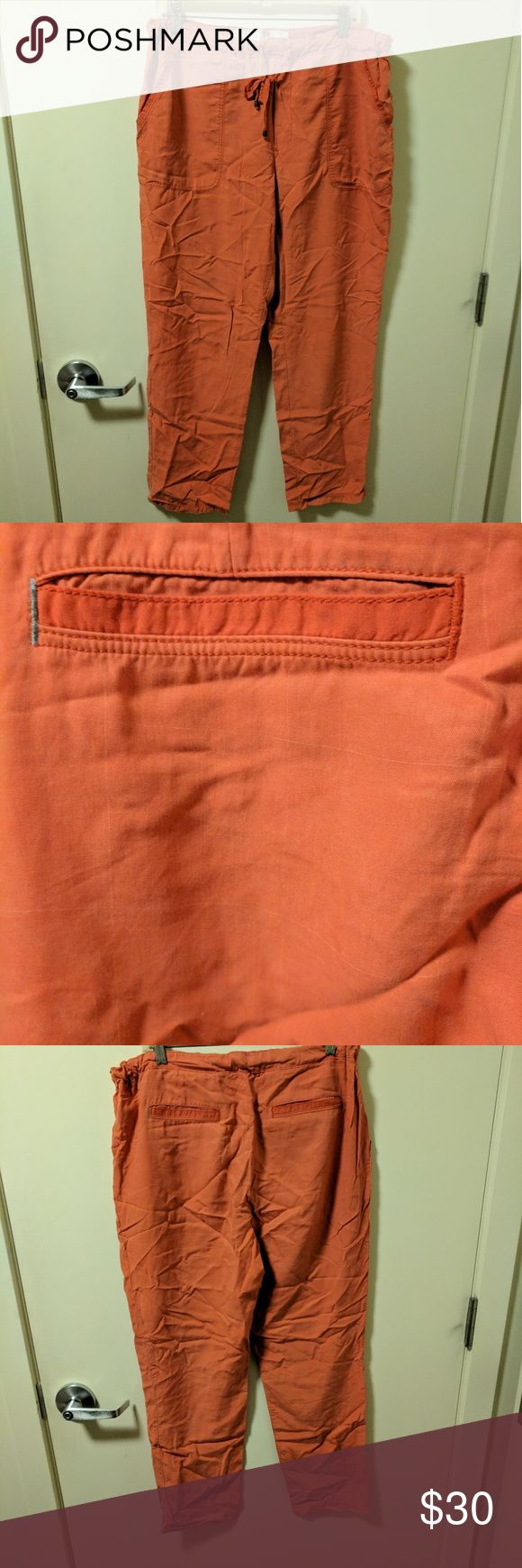 Salmon Anthropologie Drawstring Pants Lightweight rayon, loose-fitting drawstring pants from Anthropologie (Hei Hei). Worn a few times but in good condition. Salmon-colored. Anthropologie Pants