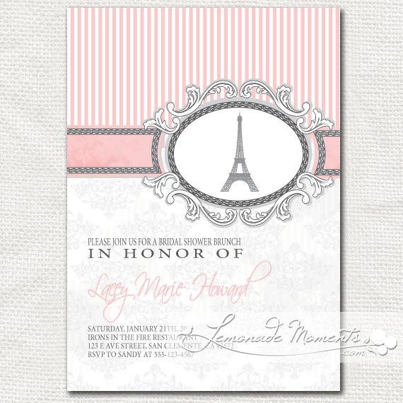 21 best Paris Themed Bridal Shower Invitations images on Pinterest - printable bridal shower invites