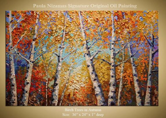 ORIGINAL Birch Tree Park Painting Modern Gallery by Nizamas
