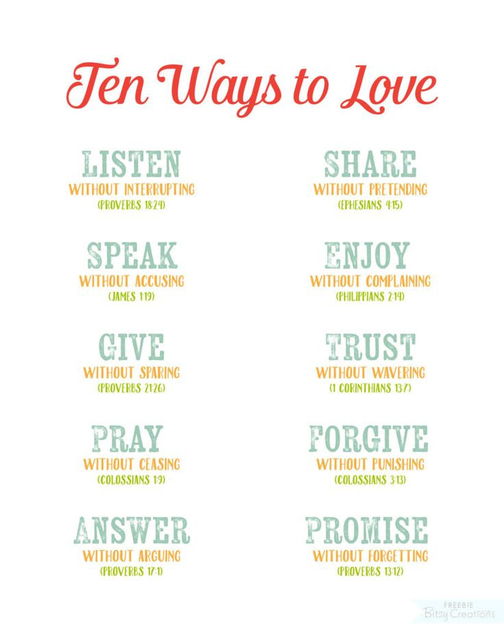 Ten Ways to Love - Free printable from BitsyCreations - Scripture Art - Quote Art - Christian - Bible Verses