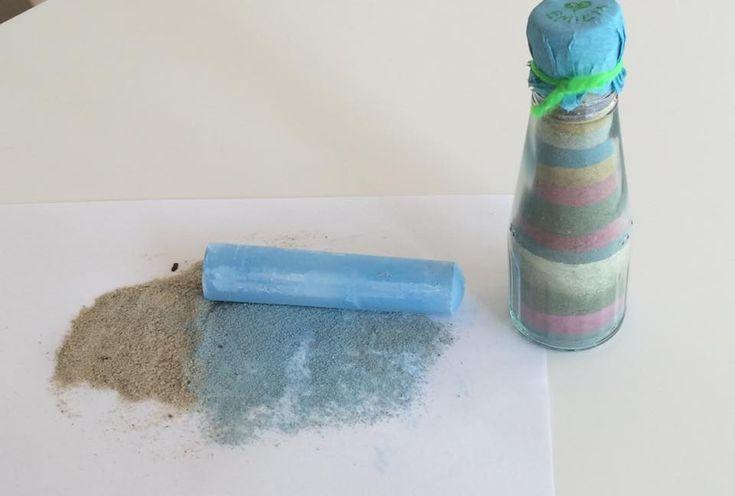 Farv sandet med kridt og lav smukke glas, hvor san...