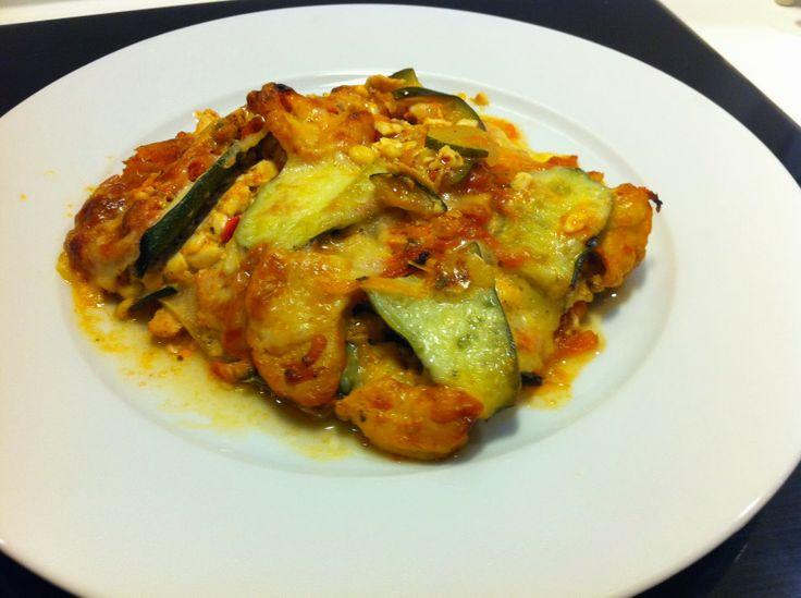 LCHF-kyllinge-lasagne med peberfrugt-hytteost #LCHF