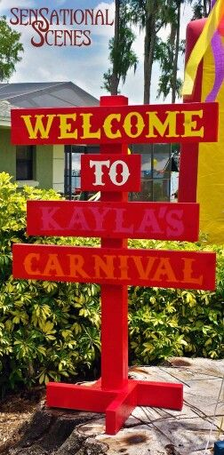 Customized Welcome Sign For A Carnival Themed 1st Birthday