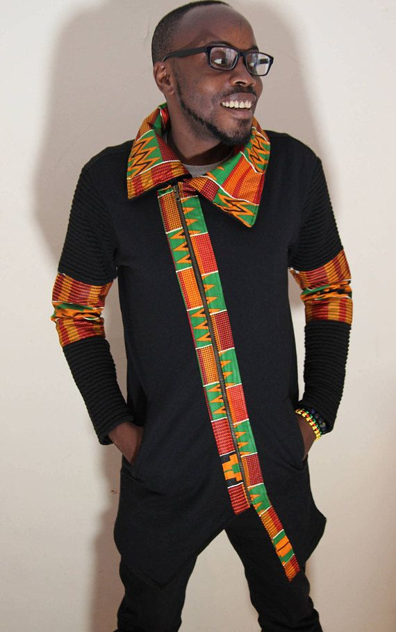 Men S Couture African Fabric Coat Yaya Pinterest