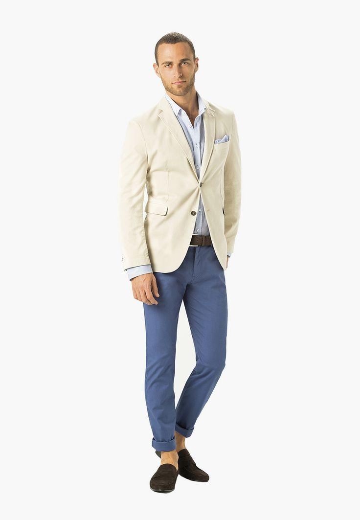 Crema y azul en este outfit que os proponemos para hoy. #Look 9 de la #Colección Masculina PV14 de #Caramelo.