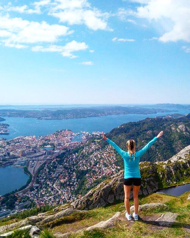 Bergen Norway Ulriken mountain view exercise trekking hike viewpoint nature cityview