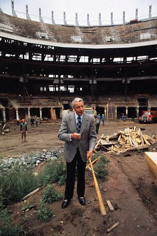 Vintage 1974, Joe DiMaggio in the well of the redesigned Yankee Stadium, NYC,