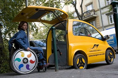 Small electric car with wheelchair access. Neat!