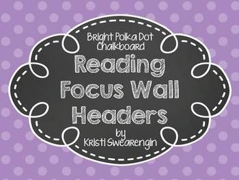 Bright and colorful chalkboard headers to use on your reading focus wall. Half sheet size posters include:Question of the WeekStoryPhonics skillGrammarComprehension StrategyComprehension SkillGenreSpelling wordsHigh Frequency wordsAmazing WordsVocabularyWeekly LettersCoordinates with my Reading Street focus wall posters.Also available in primary polka dots in my store!
