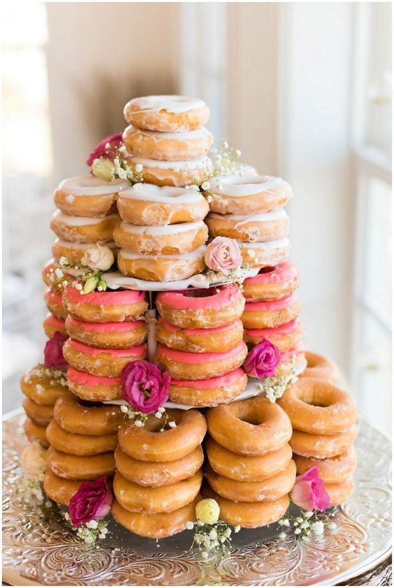 Stack up your donuts or do it kabob style! Glazed, chocolate covered, and hazelnut are the most popular donut flavors. - See more at: http://www.quinceanera.com/food/10-dessert-table-ideas-take-quince-next-level/?utm_source=pinterest&utm_medium=social&utm_campaign=food-10-dessert-table-ideas-take-quince-next-level#sthash.VYYV5W3F.dpuf