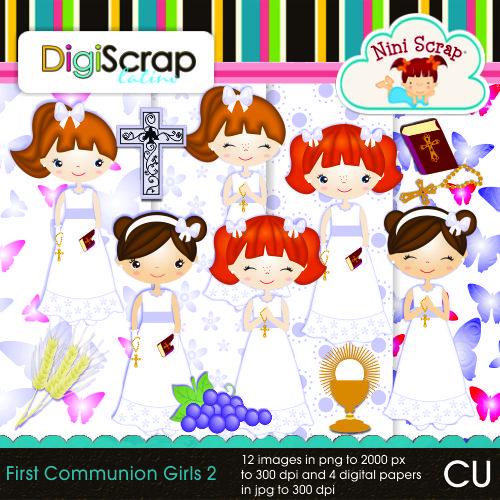 First Communion Girls 2 - $3.00 : DigiScrap Latino
