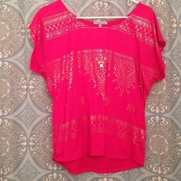 Pink and Gold Top Beautiful pink and gold top from Charlotte Ruuse! Charlotte Russe Tops