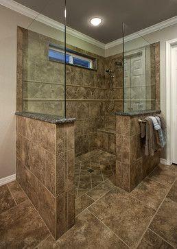 Traditional bathroom no door shower design ideas pictures for Master bathroom no door