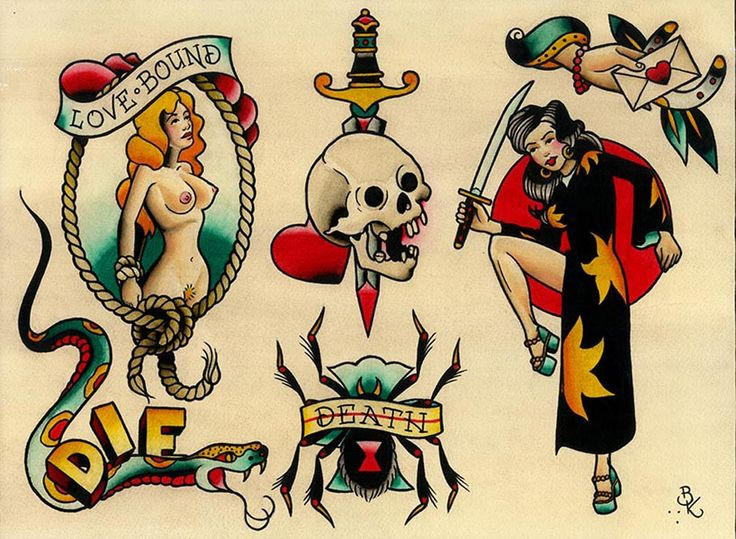 Brian Kelly's set of flash tattoo artwork. This traditional tattoo flash art print features a nude woman, woman with sword, dagger and skull, serpent, and hand with love letter. Title: Flash 13 Artist