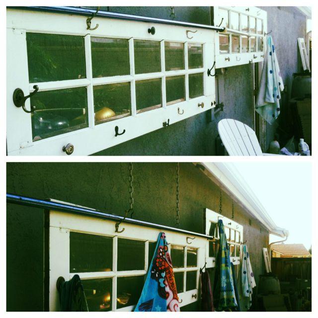 Antique Doors..... NOW outdoor pool towel rack!