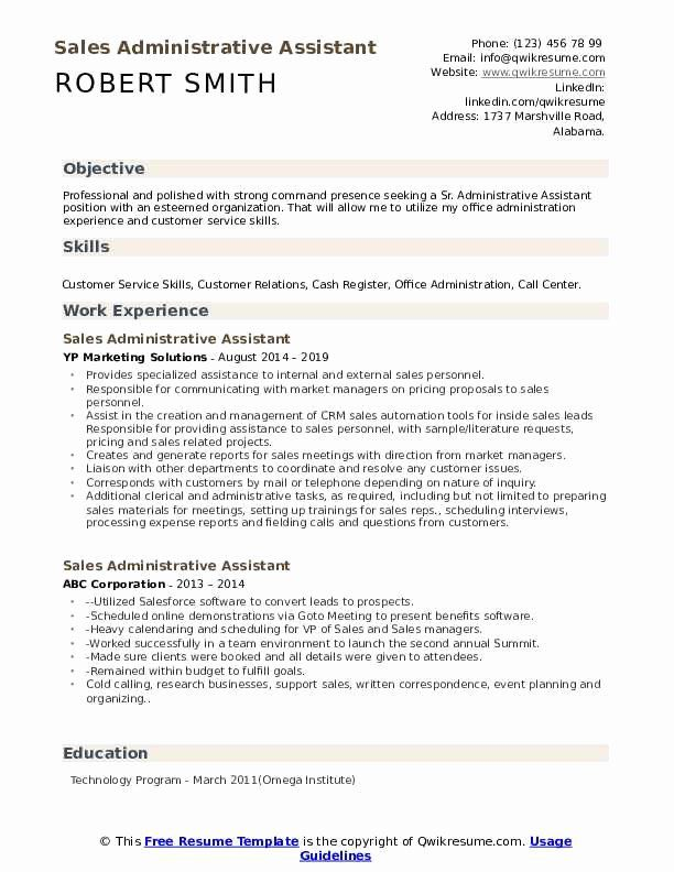 Administrative Assistant Resume Objective Samples Unique Sales Administrative Assistant Resume Samples