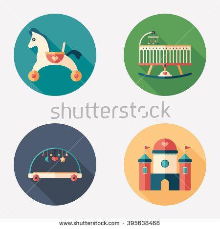 Baby toys and recreation flat round icon set. #homeinterior #homefurniture #flaticons #vectoricons #flatdesign