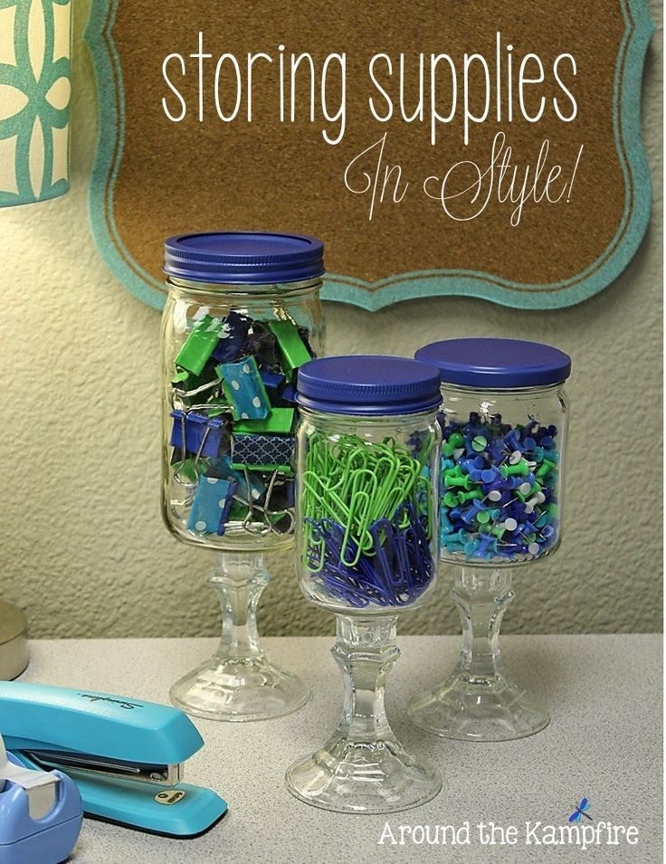 Classroom Jar Ideas ~ Apothecary jars for the classroom storing your supplies in