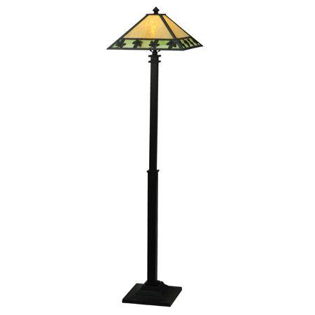 Metal maple leaves dance across the border of this art glass craftsman floor lamp.