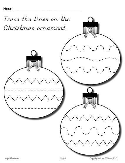 FREE Printable Christmas Ornament Line Tracing Worksheet! Includes three  ornaments with various lines for tracing - FREE Printable Christmas Ornament Line Tracing Worksheet