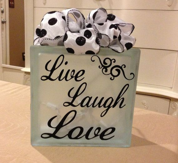 Live Laugh Love Decorative Glass Block by KayKaysCrafts on Etsy, $30.00