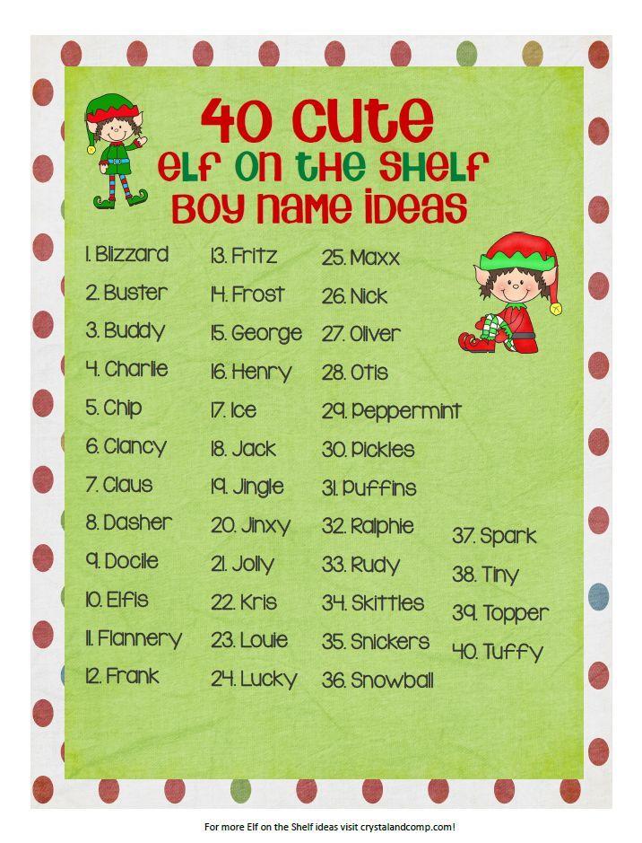 80 Cute Elf on the Shelf Names Elf names, Elf on the