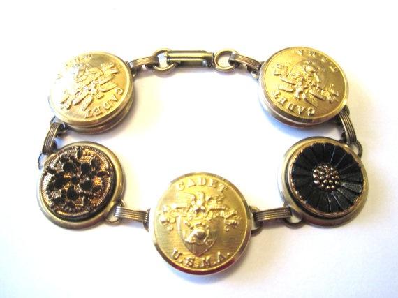 WEST POINT cadet antique button bracelet. Black & Gold. USMA mom!: Medium Buttons, Cadet Antiques, West Points, Glasses Buttons, Buttons Bracelets, Bracelets Black, Antiques Buttons, Intricate Glasses, Points Cadet
