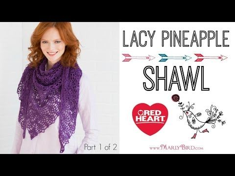 Lacy Pineapple Shawl Crochet Pattern | Red Heart