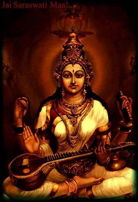 Lovely image o Goddess Saraswathi who is worshipped at Mookambika Temple , Kollur, in South India.