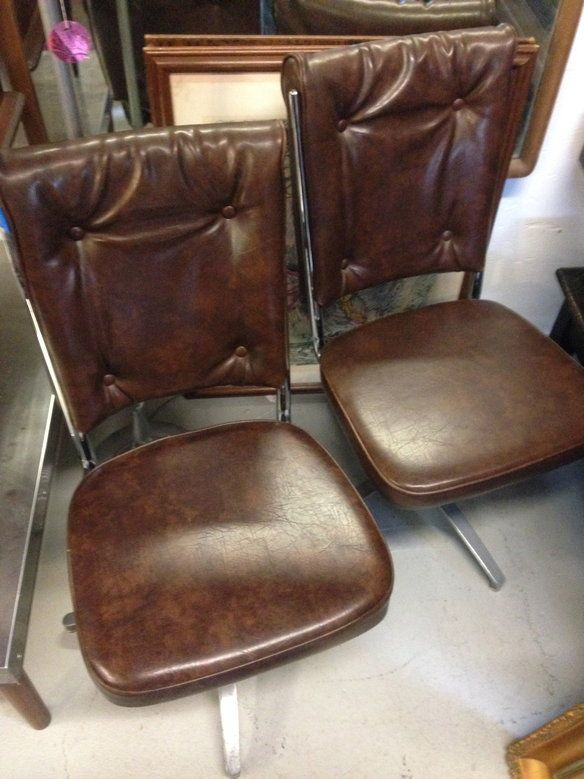 Set Of Five Chrome Craft Swivel Dining Chairs
