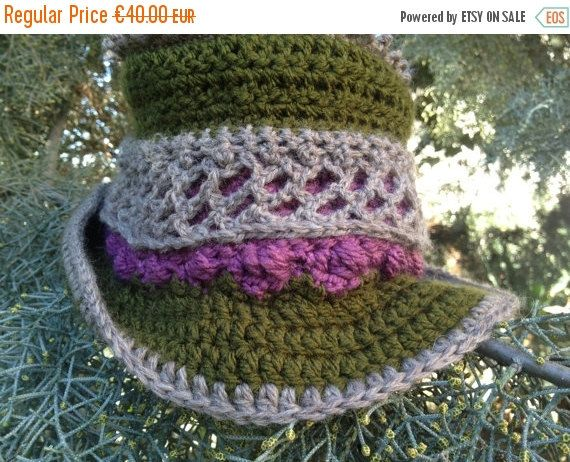 ON SALE 50% Off Crochet hat  steampunk Top Hat by PixiesFairies