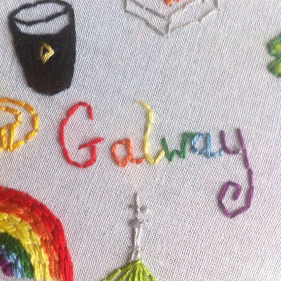 Galway Ireland Hoop Art Embroidery Irish City by ThePotOfGold