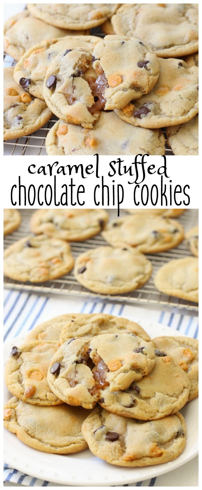 Caramel Stuffed Chocolate Chip Cookies- my favorite Chocolate Chip Cookie recipe stuffed with caramel chips and soft caramels! Amazing! From Butter With A Side of Bread