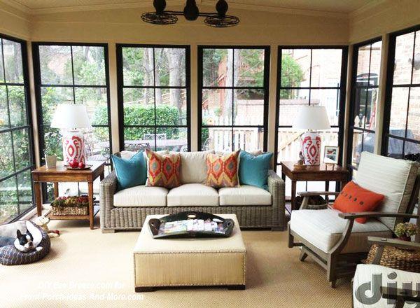 Screen porch windows create a fantastic three season porch found on Front-Porch-Ideas-And-More.com #threeseasonporch #buildporch #porch