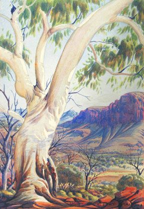 Albert Namatjira - Ghost Gum c 1953 I remember we had this on our wall at school!
