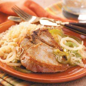 Pork Chops with Sauerkraut Recipe from Taste of Home -- Shared by Stephanie Miller of Omaha, Nebraska  #Good_Luck