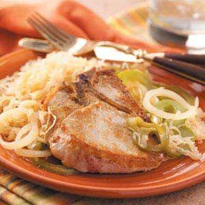 Pork Chops with Sauerkraut Recipe from Taste of Home -- Shared by Stephanie Miller of Omaha, Nebraska  #Good_Luck