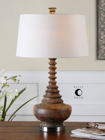 """Diega Solid Wood Table Lamp , 26766 by Uttermost - 28"""" - LOW Prices, FREE Shipping, NO Tax. Ribbed Solid Wood With Nickel Details."""