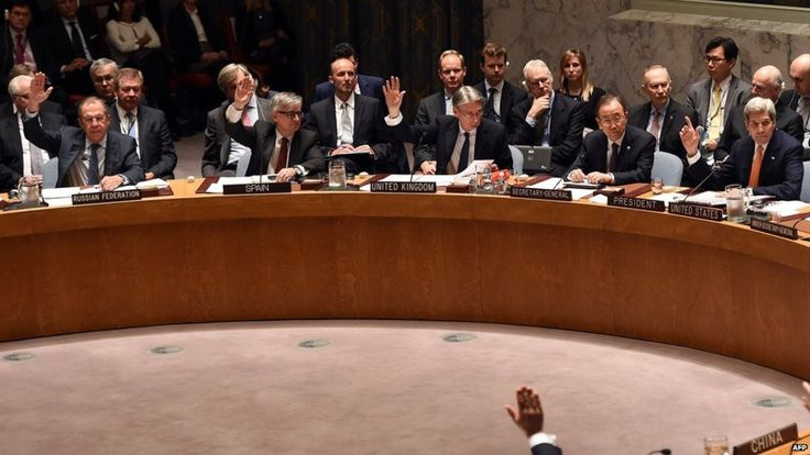 The United Nations Security Council unanimously adopts a resolution outlining a peace process for Syria.
