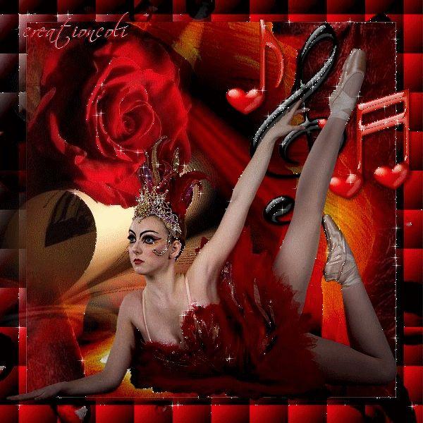 magnifique danseuse dans un cadre et quelques coeurs