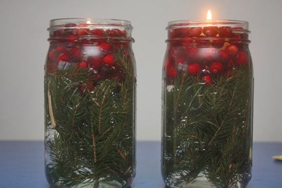Cranberry Mason Jar Pine Tree