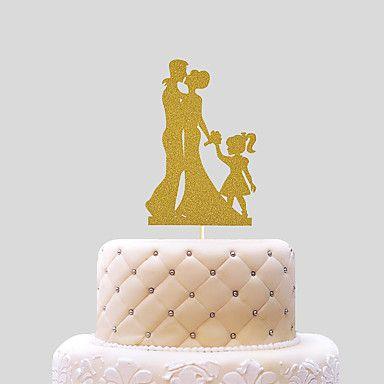 Tortenfiguren+&+Dekoration+Nicht-personalisierte+Klassisches+Paar+Kartonpapier+Hochzeit+Schleife+Gold+Strand+Thema+/+Klassisches+Thema+1+–+EUR+€+1.95